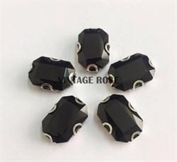 Стразы в цапах 13*18 мм, форма прямоугольник Черный Джет - фото 10914
