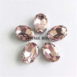Стразы в цапах 13*18 мм, форма овал Розовый - фото 10940