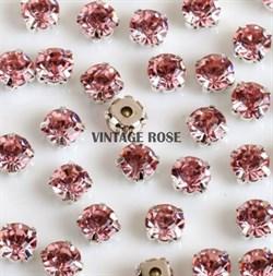 Шатоны, 4мм, розовый, серебро - фото 11940