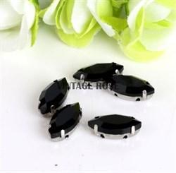 Стразы в цапах, 7*15 мм, черные, 3 шт/уп - фото 12080