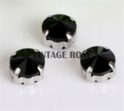 Риволи в цапах, 10мм, Черный, 4 шт/уп (Черный, 10 мм)