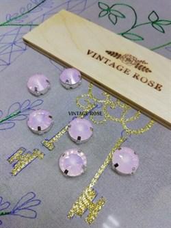 Риволи в ювелирном касте, pink opal, 12 мм,1 шт (Розовый, 12 мм) - фото 14976