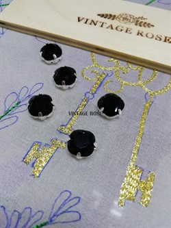 Стразы Премиум в ювелирных кастах, 10 мм, черные 1 шт (Черный, 10 мм) - фото 14978