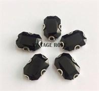 Стразы в цапах 13*18 мм, форма прямоугольник Черный Джет