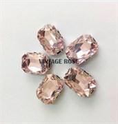 Стразы в цапах 10*14 мм, форма прямоугольник Розовый