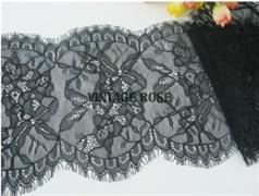 Кружево эластичное шантильи с ресничками, 16.5 см ширина, Марго, черное