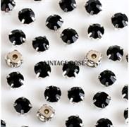 Шатоны, 4мм, черные, серебро