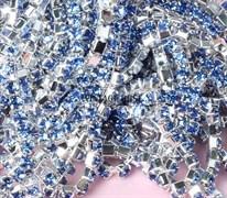 Лента из страз, Светло-Синяя, 10 см (3 мм)