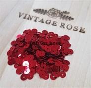 Пайетки 4мм плоские # Р-313 Италия, металлизированные красные