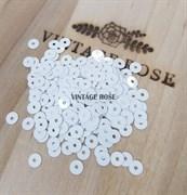Пайетки 3мм плоские Белый Лед #1001 Италия, глянцевые