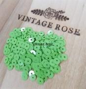 Пайетки 4мм плоские Verde Chiaro #7664 Италия, глянцевые