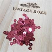 Пайетки 4мм плоские Dark Pink MT #3271 Италия, металлизированные