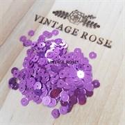Пайетки 4мм плоские Lilac MT #5031 Италия, металлизированные