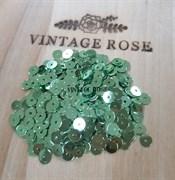 Пайетки 4мм плоские Green MT #7021 Италия, металлизированные