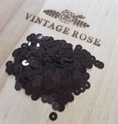Пайетки 4мм плоские Dark Brown M2 #8099 Италия, металлик