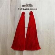 Вискозные кисточки для сережек 10 см, Красные