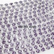 Лента из страз 2 мм, Лаванда, 10 см (Фиолетовый)