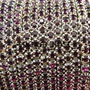 Лента из страз, Темно-фиолетовая, 3 мм