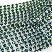 Лента из страз, 4 мм, Изумрудная, (Зеленый)