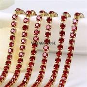 Лента из страз в золоте 2 мм, Рубин, 10 см (Красный)