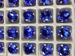 Стразы Премиум в ювелирных кастах  12мм, Sapphire, 2 шт/уп (12 мм)