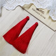 Вискозные кисточки для сережек 9,5 см, Красные