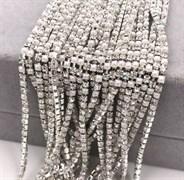 Лента из страз 2 мм, Жемчуг-брилл в серебре, 50см
