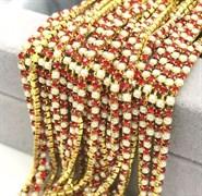 Лента из страз 2 мм, Жемчуг-рубин в золоте 50 см