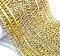 Лента из страз, Бриллиант 3 мм в золоте