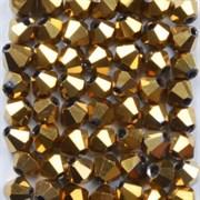 Граненая бусина, биконус, золото
