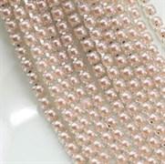 Лента из страз 2 мм, Жемчуг кремовый в серебре, 50см