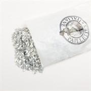 Пайетки 3мм плоские Серебро #01501/3мм Италия,  атласные