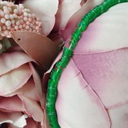 Пайетки 4мм плоские на нитке, Зеленый Радужный, Ливан