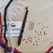 Люневильский крючок с 4-мя иглами бренда Vintage Rose Шахматы Эбеновое дерево