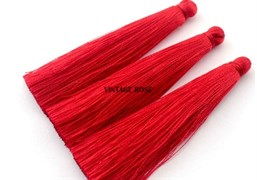 Вискозные кисточки для сережек 7 см, Красные