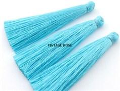 Вискозные кисточки для сережек 7 см, Голубые