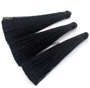 Вискозные кисточки для сережек 7 см, Черные