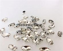 Стразы в цапах, 4*8 мм, бриллиант, 10 шт/уп